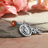 IN-598  Our Lady of Guadalupe Medal with Cross and Drop Necklace