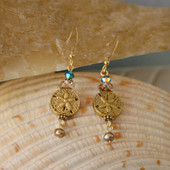 OC-39  Sandollar Earring with Touch of Swarovski and Freshwater Pearls
