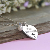 CJ-546  First Communion Stainless Steel Charm Necklace