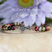IN-292  Freshwater Pearls Beautiful Colors The Lord is my Shepherd Bracelet