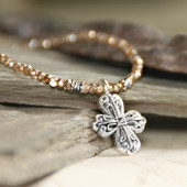 IS-33TOPZ  Topaz Crystal Beaded Cross Necklace