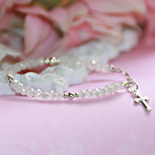 "STG-3CR  Matte White Crystals and Sterling Silver Beautiful Infant 4 1/2"" Bracelet with Cross Charm"