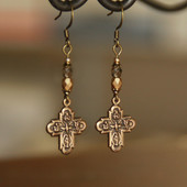 IN-75F  Vintage Gold Four Way Catholic Cross Earrings