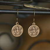 IN-77G  Reproduced from an original Vintage St. Benedict Medal Oh so classic Earrings