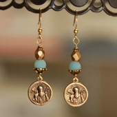 IN-82   Vintage Medal St. Benedict and Amazonite Earrings
