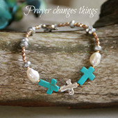 IN-390  Pray without ceasing Turquoise Cross Bracelet