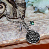 IN-565  Faith Cross and Crystal Necklace