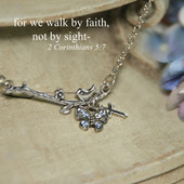 IN-570  For we walk by Faith Dainty Bird and Butterfly Necklace