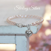 "STG-73HT  Sterling Silver Heart and Faceted Glass Pink Pearls 5"" Bracelet"