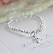 "STG-75CR Sterling Silver Cross and Faceted white Glass Pearls Oh so Precious 5"" Infant Bracelet"