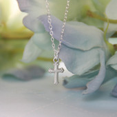 STG-91  This Cross Classic Necklace is a must for Every Order!  Classic Sterling Silver Top Seller!