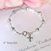 CJ-151-6  Silver Glass Beads Classic Bracelet with Cross 5""