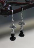 IN-704 Jet Crystal Cross Earrings