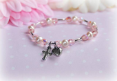CJ-498 Pink Crystals and Pearls Baby Bracelet 5""