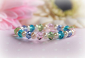 CJ-386 Multi pastel crystals and Pearls Baby Bracelet 5""
