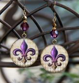 ART-224E Purple & Gold Fleur de Lis ART Earrings