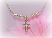 CJ-357 Seed Pearl Rhodium Cross Necklace