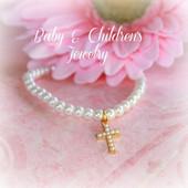 "CJ-487 Child Seed Pearl Cross Bracelet 6"" Gold finish Stretchy"