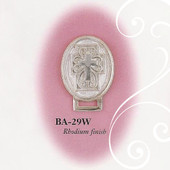 BA-29W Oval Cross Enamel White and Silver Paci Holder