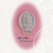 BA-29B Oval Cross Enamel Blue and Silver Paci Holder