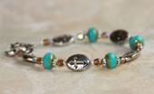 IN-221 Turquoise Glass Cross Bracelet
