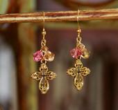 IN-28  Swarovski Crystal Earrings Pink