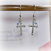 GG-20  Amazing Grace Cross Crystal AB Earrings