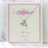 RH-10  Rhodium My Heart belongs to Jesus Necklace