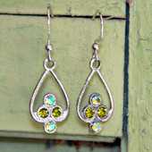 FER-39G  Peridot Crystal Earrings