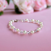 """STG-248  Freshwater Pearls and Crystals 5"""" Baby Bracelet"""