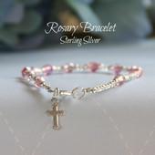 """STG-57  Pink Crystal Sterling Silver Child 6"""" Bracelet"""