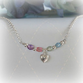 STG-94HT  Sterling Silver and Pastel Crystals Puffed Heart Necklace