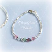 """STG-55  Pastel Crystals Seed Bead Infant 4 1/2"""" Bracelet"""