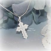 """STG-224  Elegant Larger Cross Sterling Silver Necklace 16"""""""
