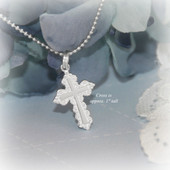 STG-225  Elegant Larger Cross Sterling Silver Necklace 18""