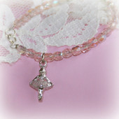 CJ-365  Ballerina Bracelet with Pink crystals 6""