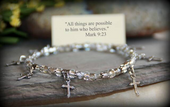 IN-225 Dainty Cross stretchy bracelet