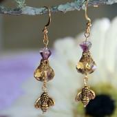 AER-19  Bee and Flower Earrings