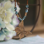 NCK-95 Butterfly Vintage Style with Swarovski Crystals