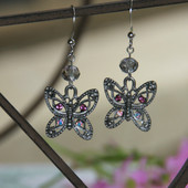 NCK-97E Butterfly Earrings with Lavender accents