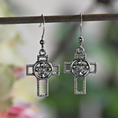 IN-30 Fleur De Lis Cross Earrings with Rhodium finish