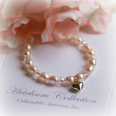 CJ-312-HT Pale PInk Freshwater Pearl Bracelet with Heart Charm 5""