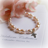 CJ-312-CR Pale PInk Freshwater Pearl Bracelet with Cross charm 5""