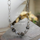 IS-632 In style Grey tone Beaded Crystal Necklace