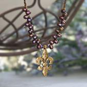 IS-659 Designer Fleur de Lis Freshwater Pearl Necklace
