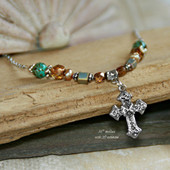 IN-476 Southwest Flair Cross Necklace, Great colors!