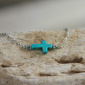 IN-498 Sideways Turquoise Cross Necklace