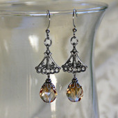 IS-651  Brown tone Crystal Drop Earrings