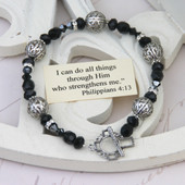 IN-121  I can do all things...Jet and filagree Bracelet