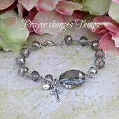 IN-127 Platinum crystal Prayer changes Things Bracelet